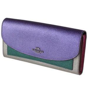 Coach Metallic Leather Color Block Wallet
